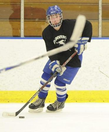 Danvers High junior captain Joe Strangie is seen during practice at Rockett Arena at Salem State University in Salem, MA, Sunday, January 29, 2012. (Photo/Lisa Poole)